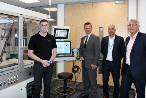From left to right: Omron's Field Application Engineer, George Brown, Milton Keynes North MP, Mark Lancaster, Omron's Regional Marketing Manager, Dan Rossek and Mark Butters, UK General Manager, Omron